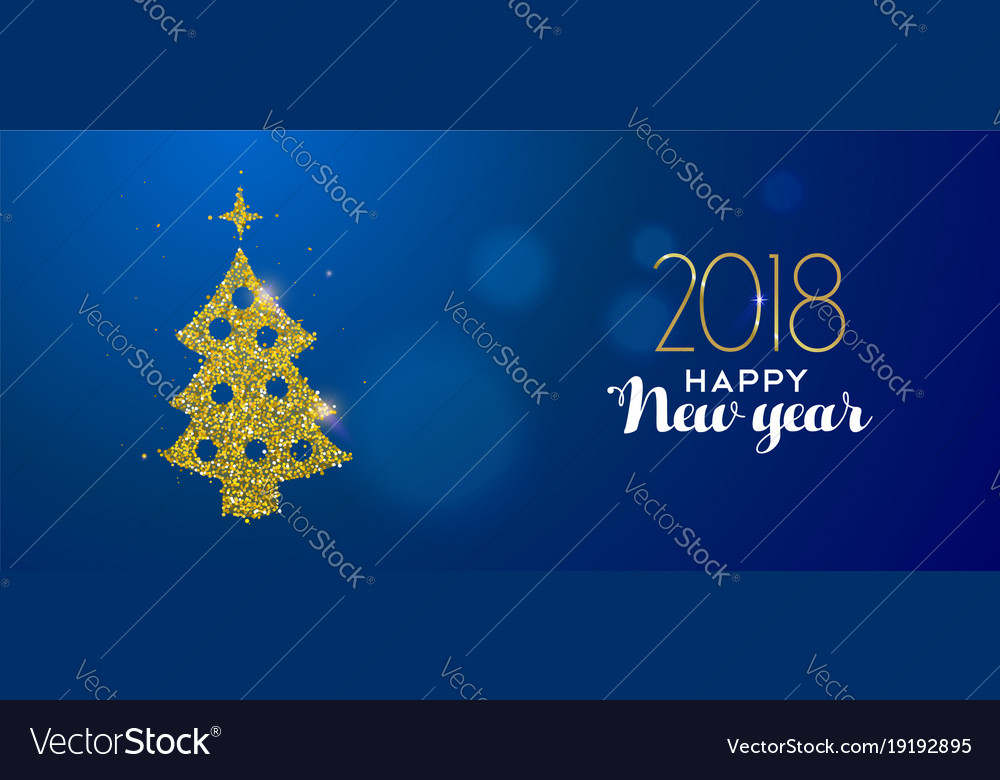 Happy new year 2018 gold glitter pine tree card