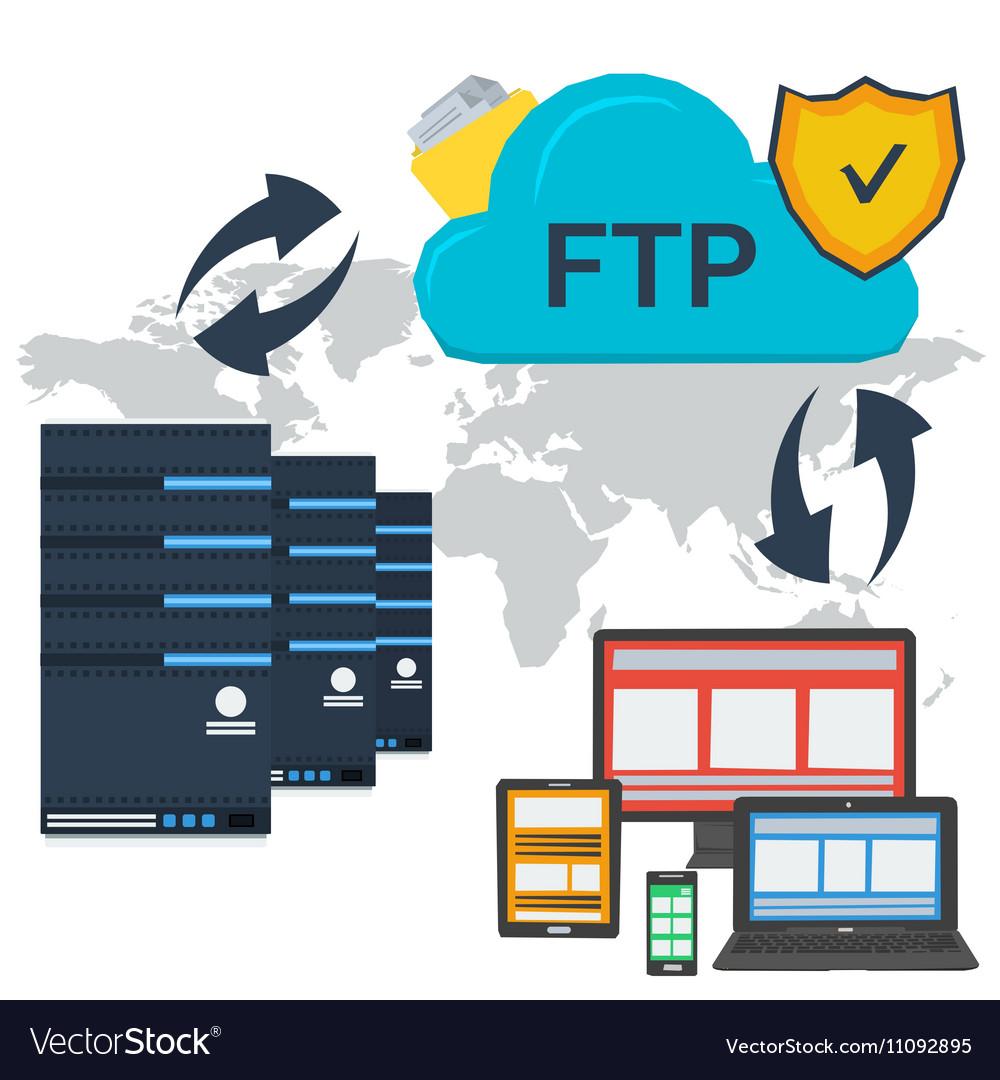 Internet FTP server and online storage vector image
