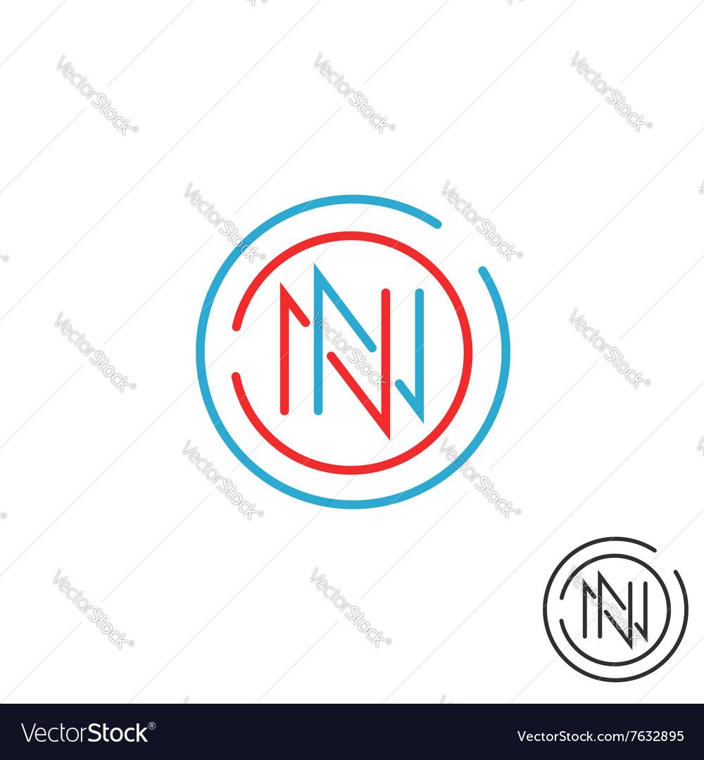 Logo N letter mockup monogram round border two nn