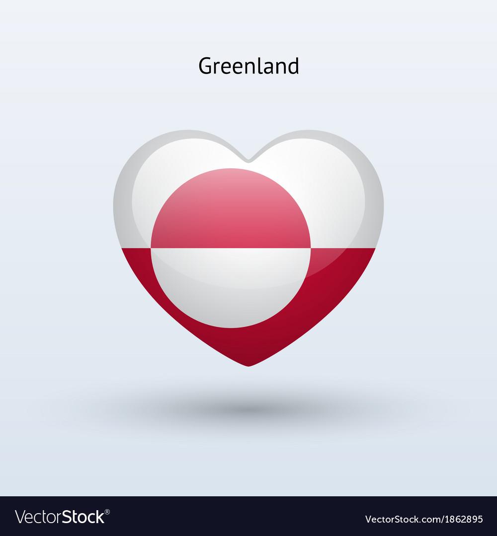 Love Greenland symbol Heart flag icon vector image