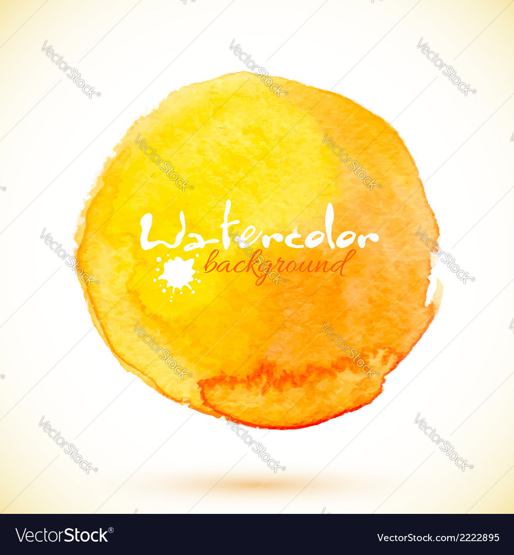 Orange isolated watercolor paint circle