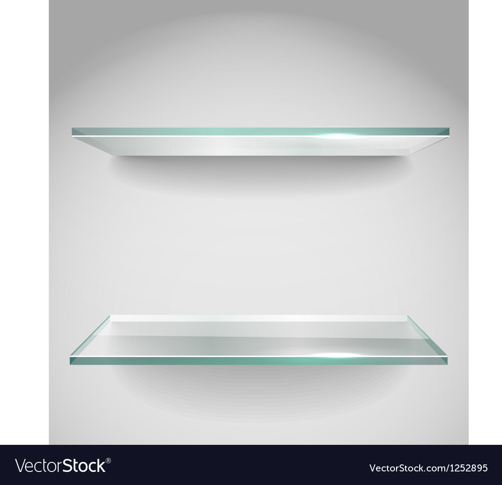 Two Empty advertising glass shelves with spot lign
