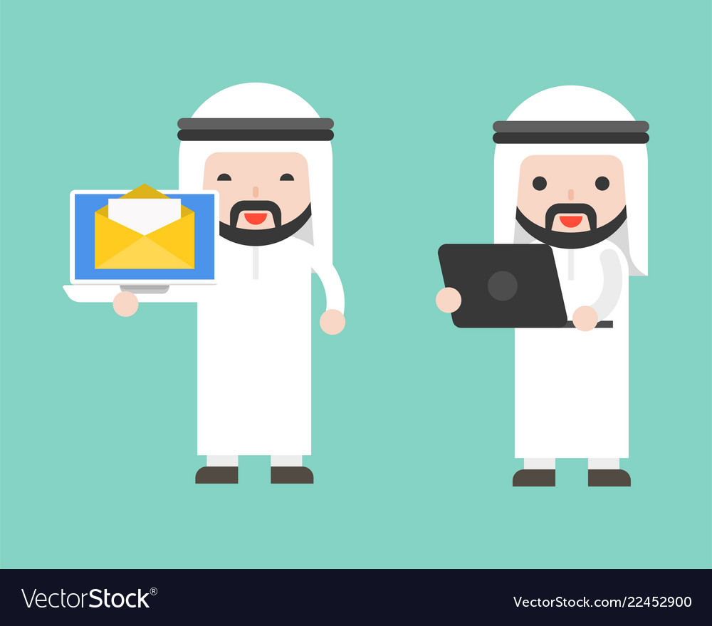 Arab businessman and laptop ready to use character