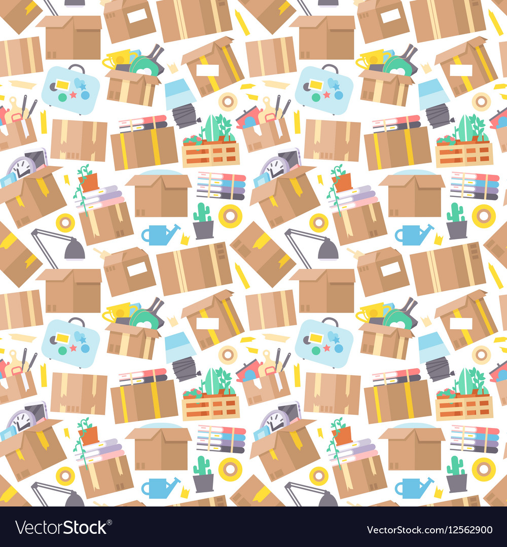 Carrying boxes seamless pattern warehouse shipping