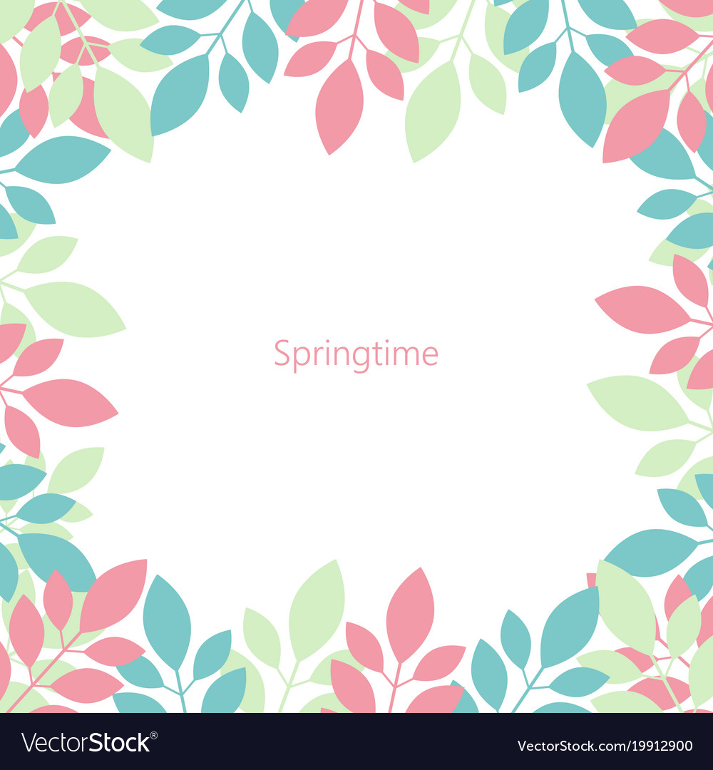 Frame of multicolored leaves springtime isolated