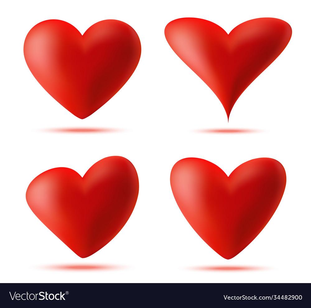Heart 3d logo set valentine heart icon