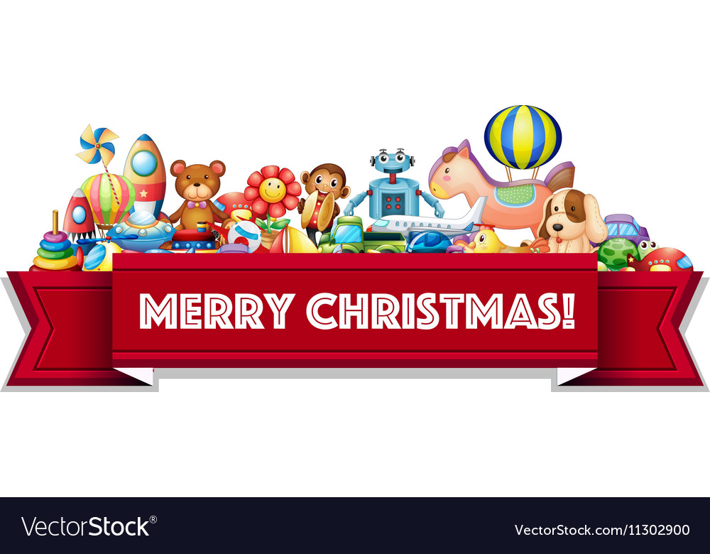merry christmas sign with many toys vector image - Sign Up For Free Christmas Toys