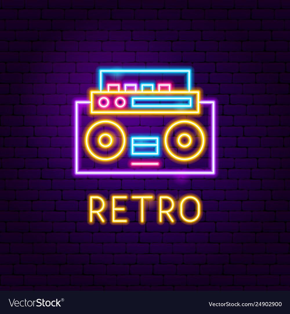 Retro recorder neon label
