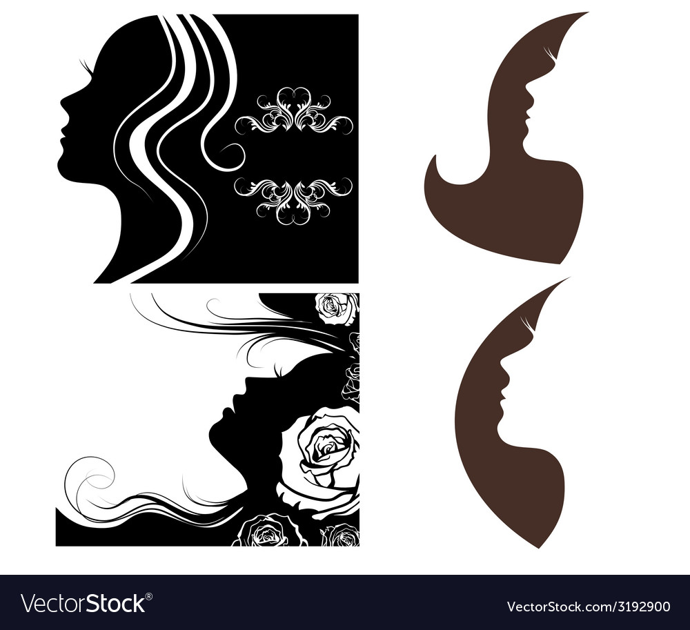 Set of beautiful silhouettes of women vector image