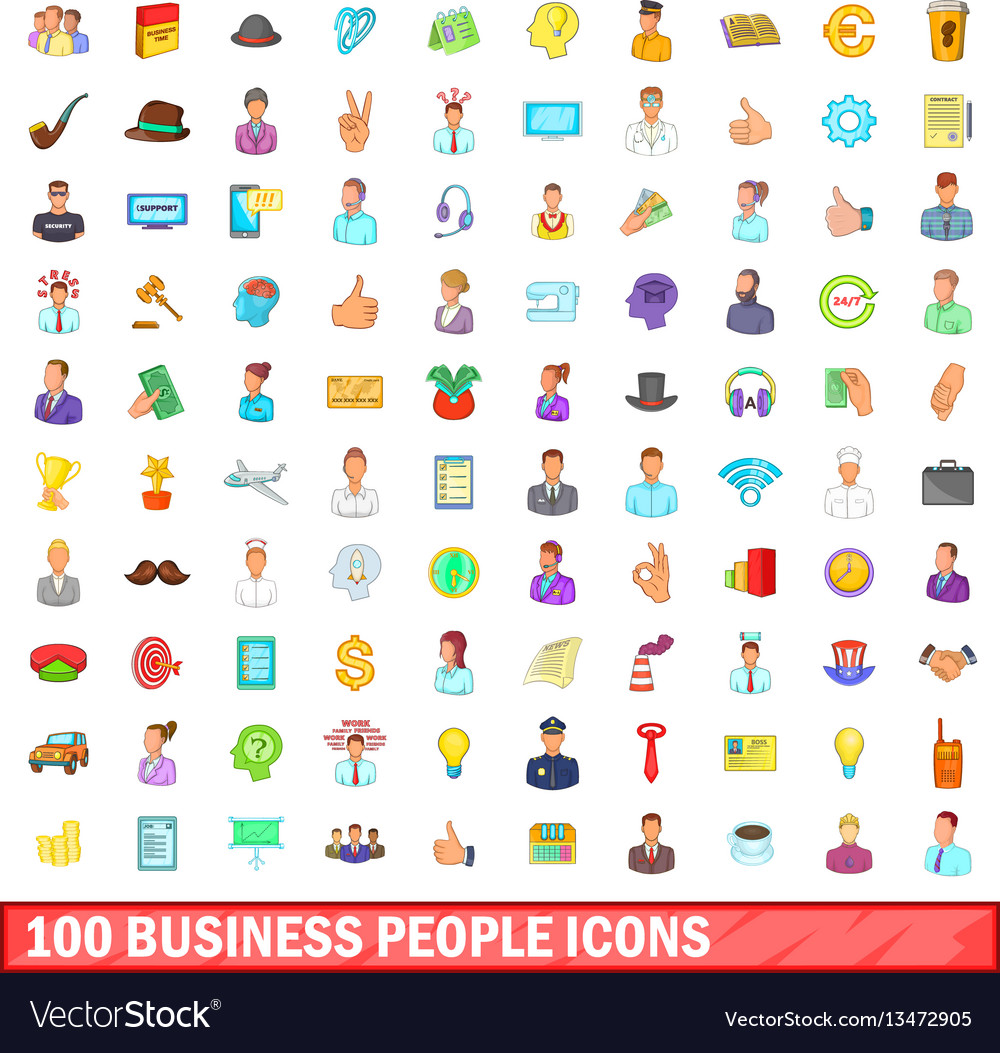 100 business people icons set cartoon style