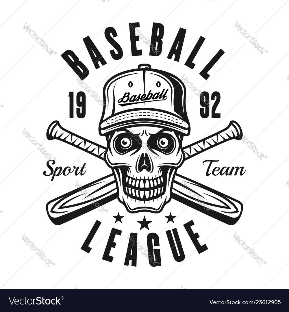 Baseball emblem with skull and two bats