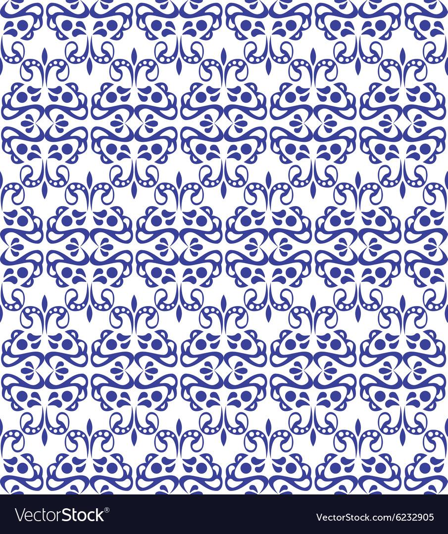 Blue elegant pattern with vintage elements vector image