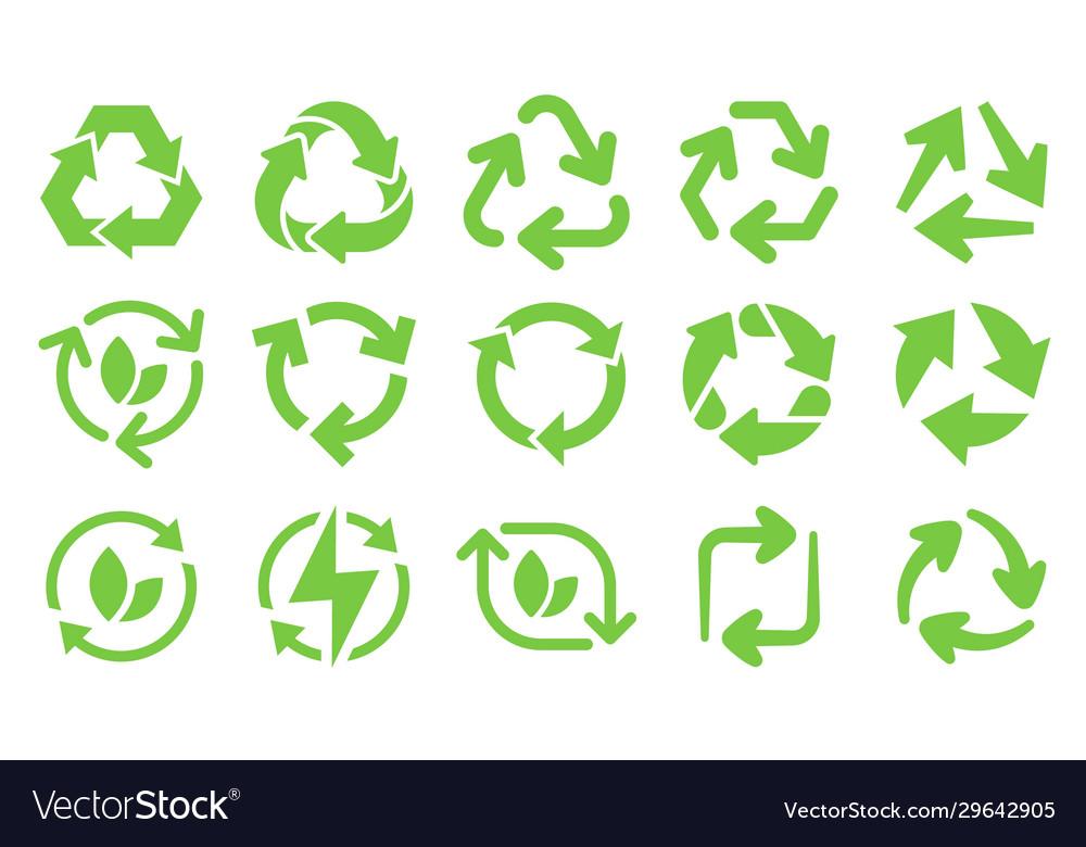 Green eco recycle arrows icons reload arrows