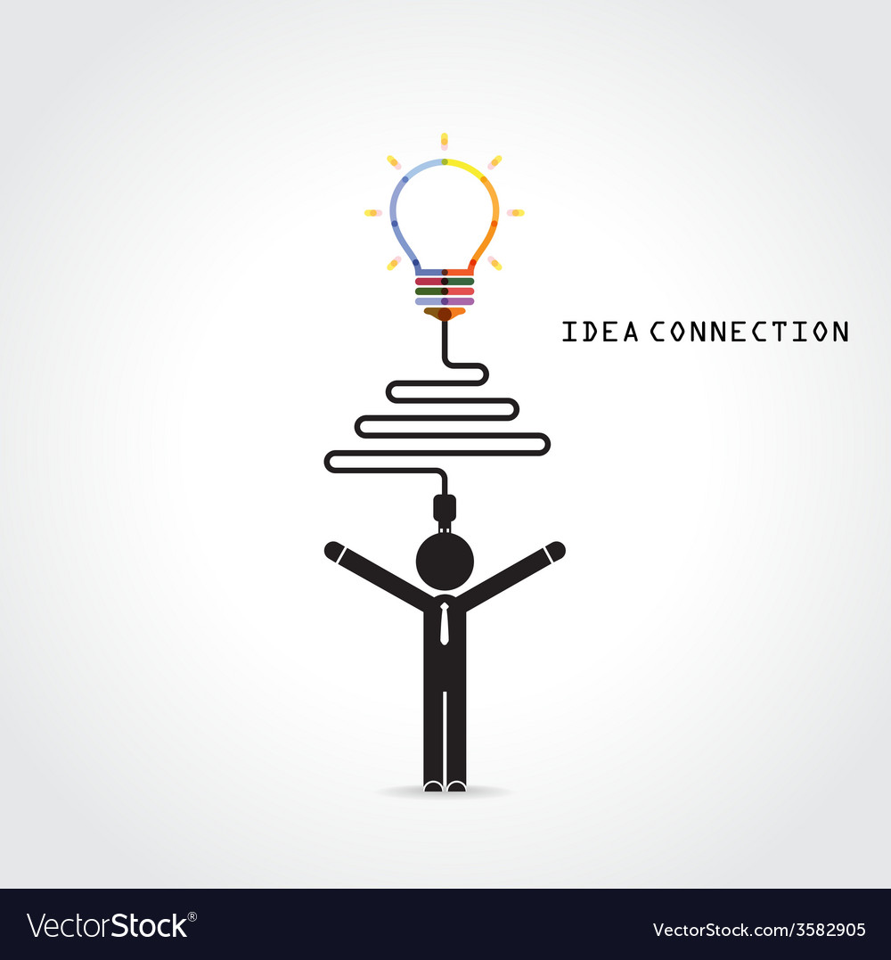 Light bulb symbol and knowledge connection