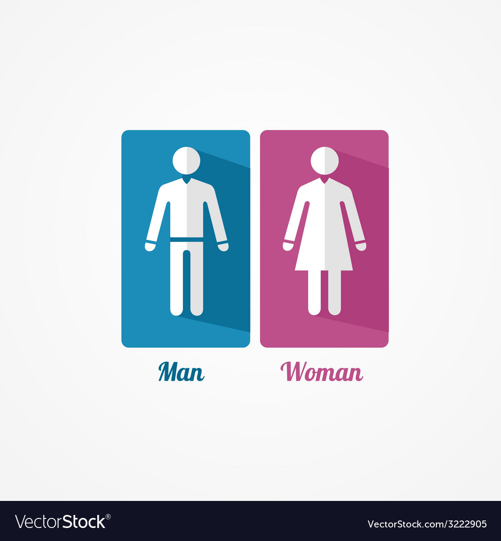 Man and Woman flat icon with shadows