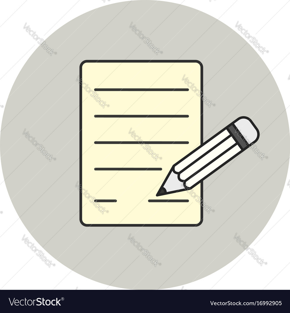 Paper and pencil icon signature symbol vector image