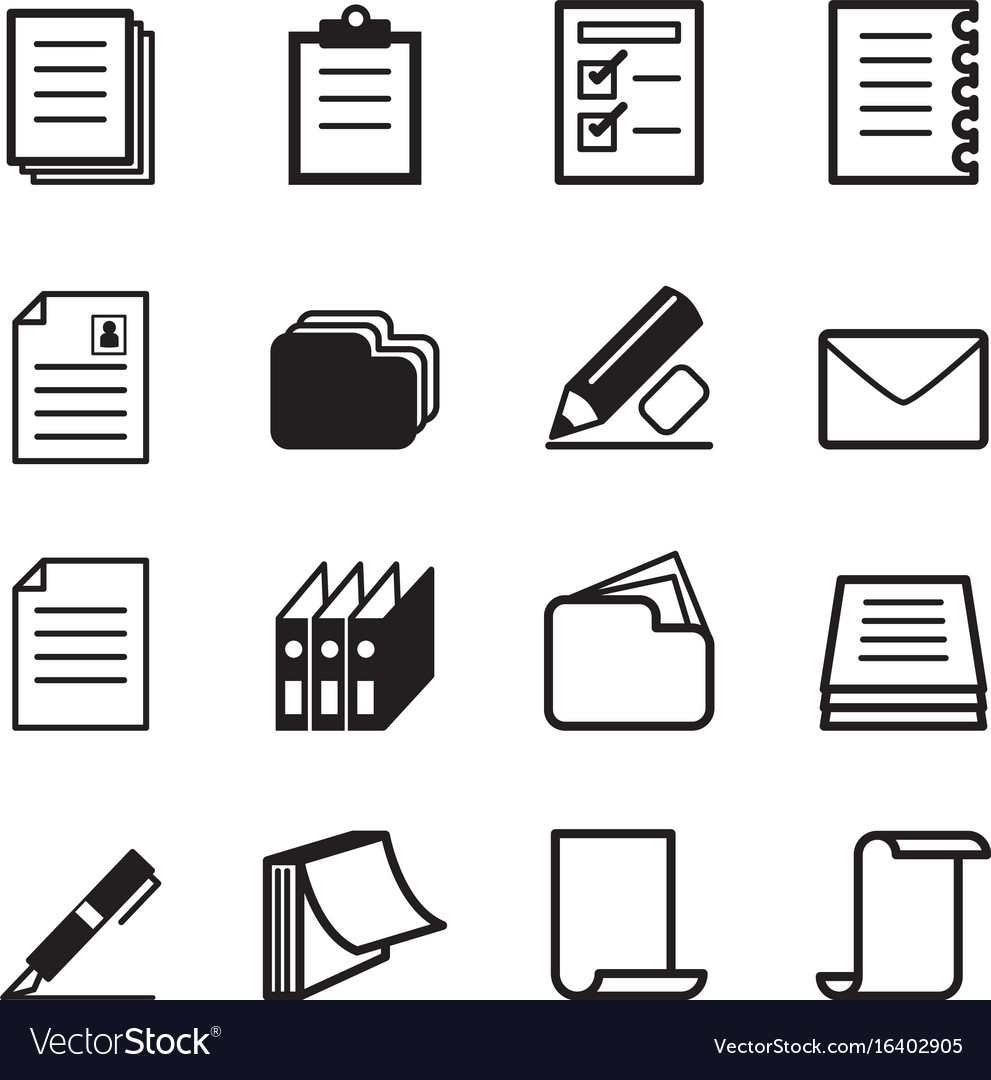 Paper stationery icon set