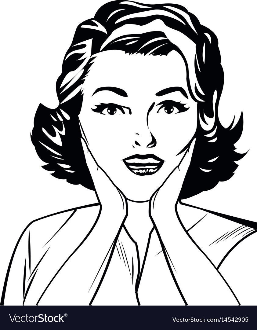 Portrait woman surprise attitude pop art black and vector image