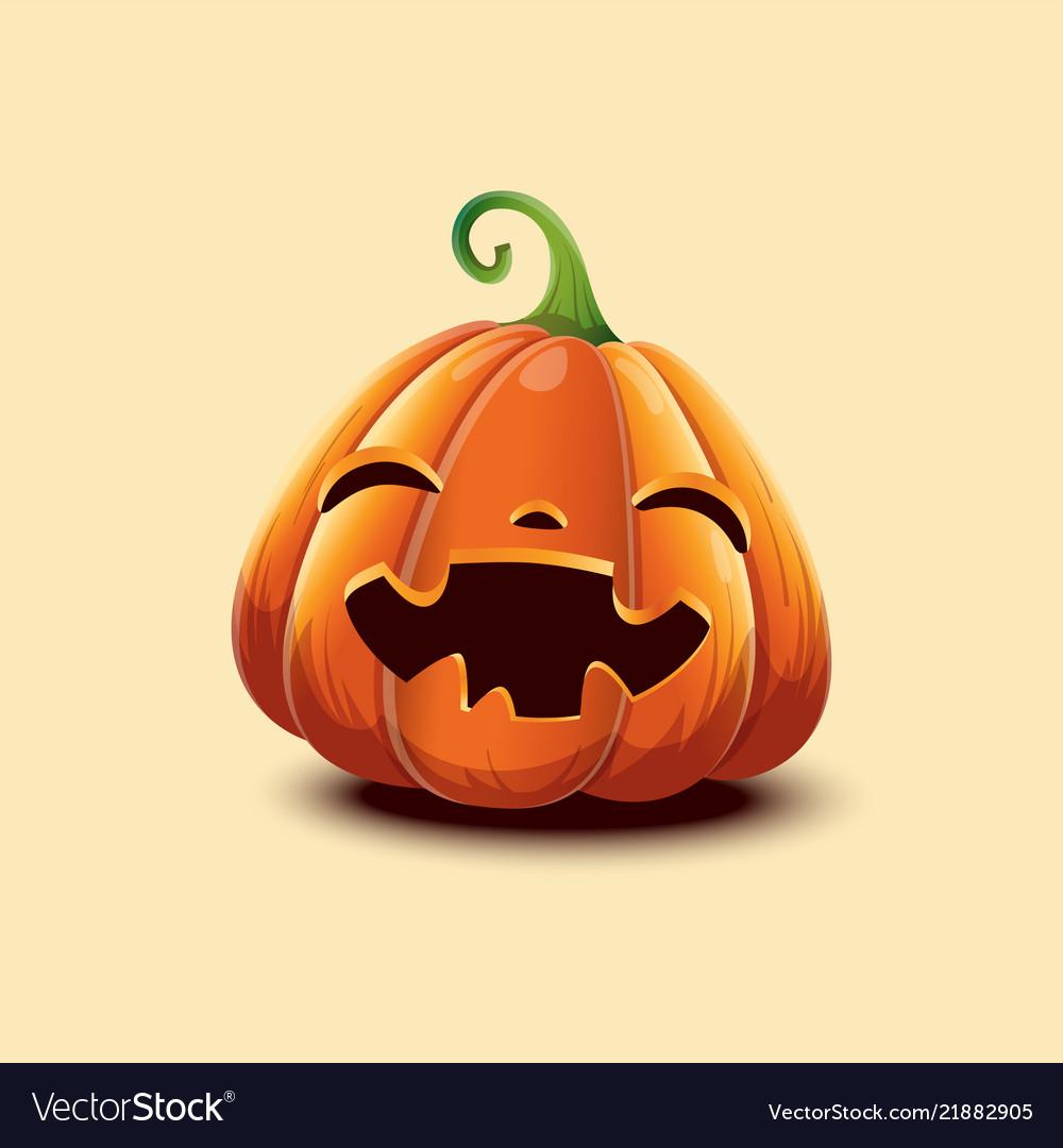 Realistic Halloween Pumpkin Happy Face Royalty Free Vector