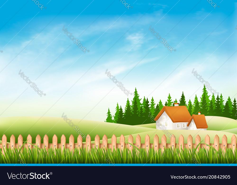 Summer nature landscape with village house green