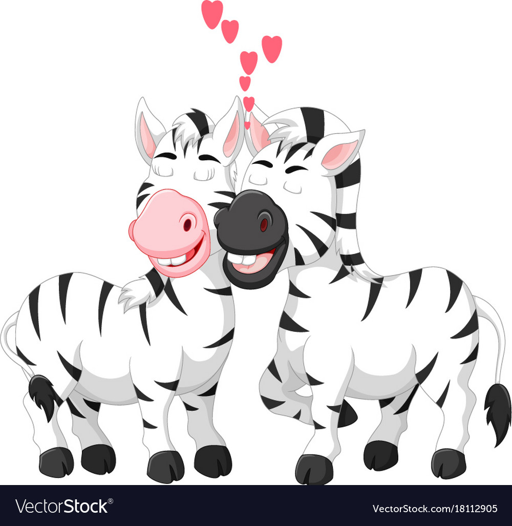Sweet zebra couple cartoon hugging with smile vector image