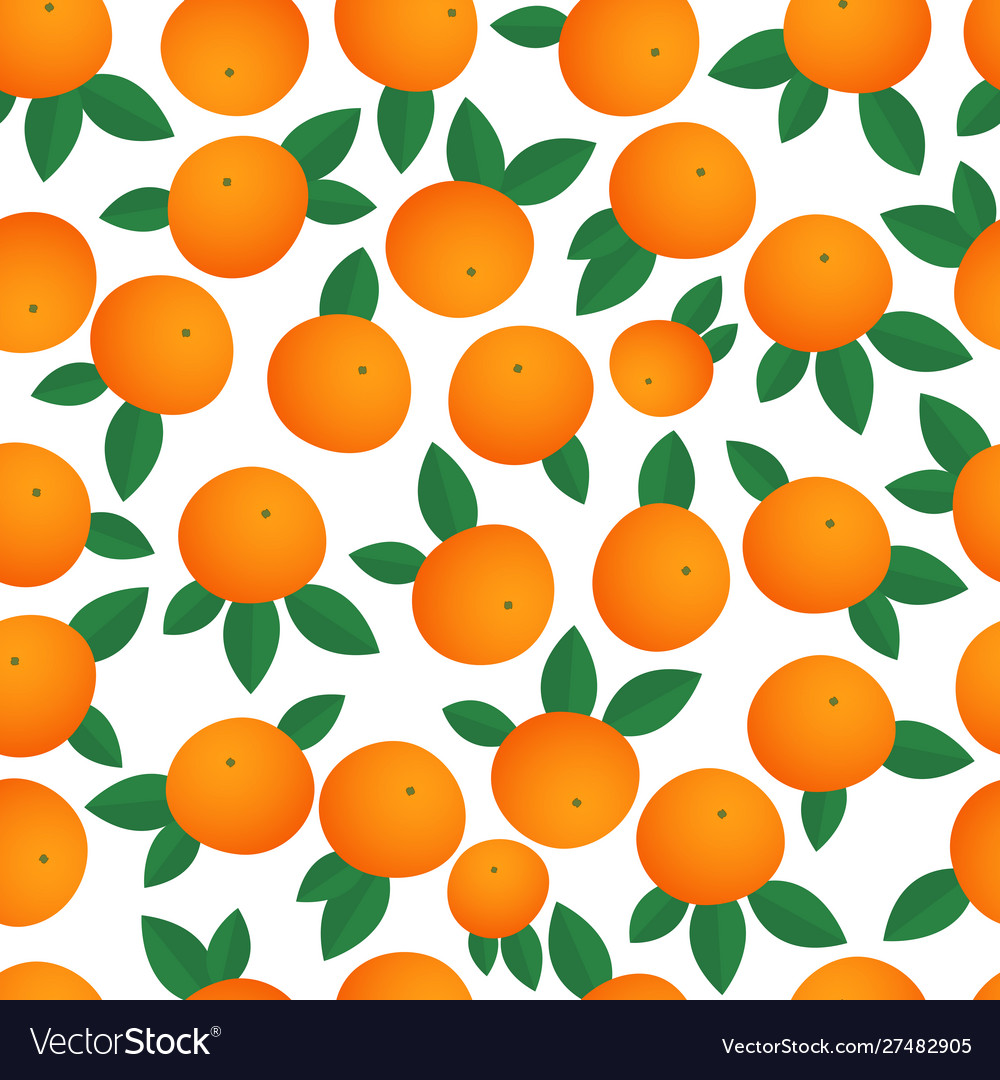 Tangerines seamless pattern isolated on a white