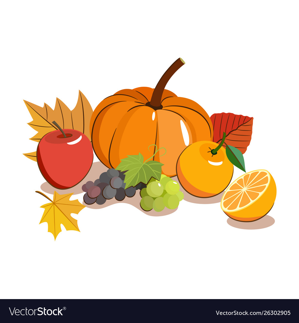Thanksgiving food icon autumnal fruit with yellow