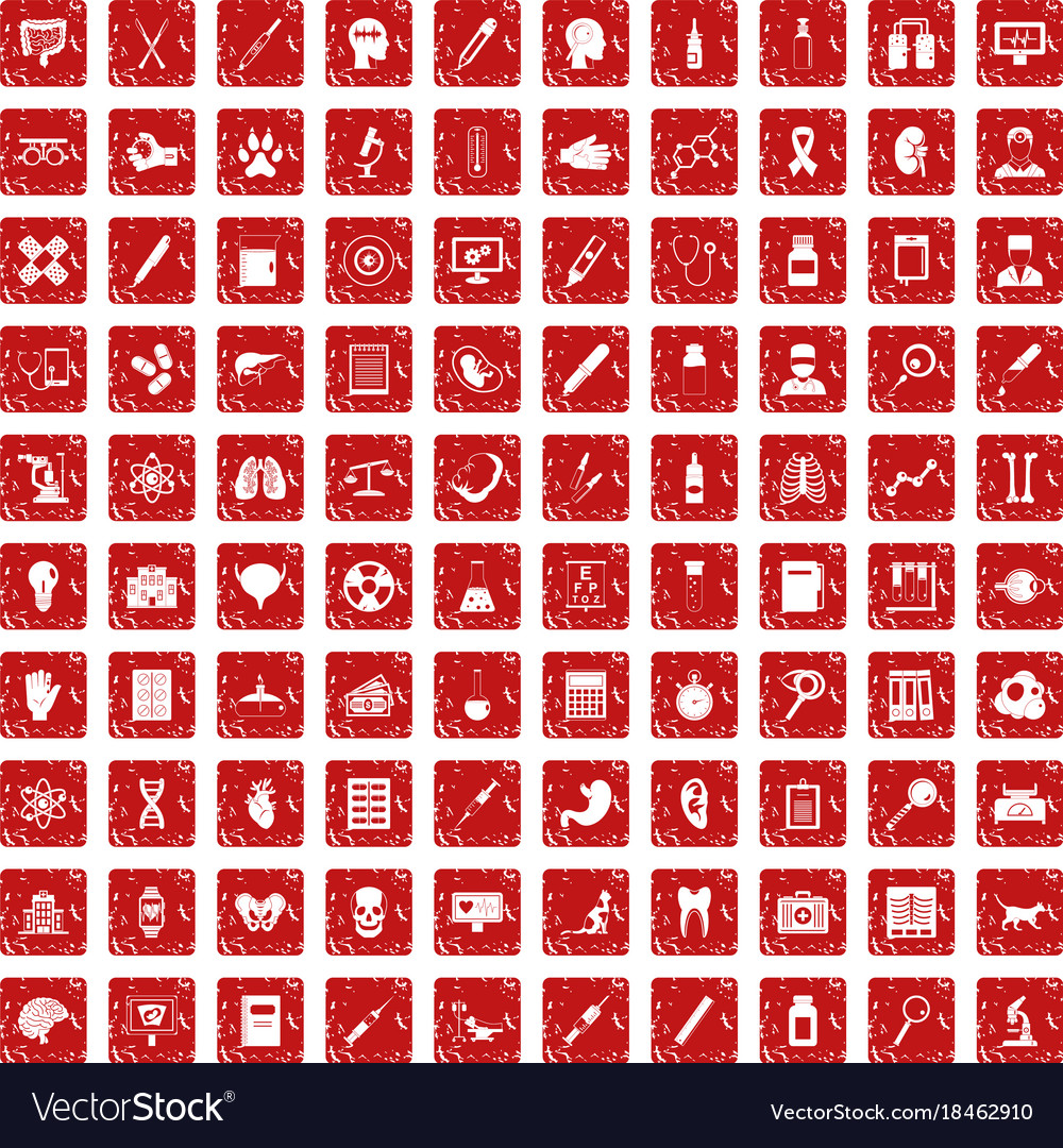 100 diagnostic icons set grunge red