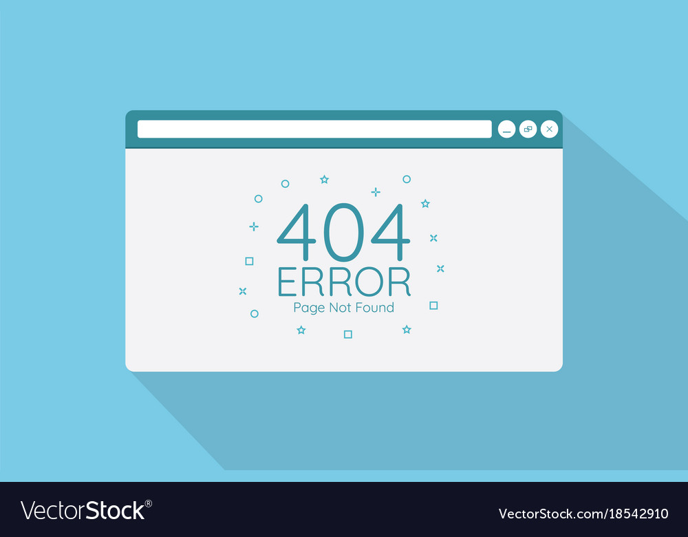 404 error page in browser screen with flat style vector image