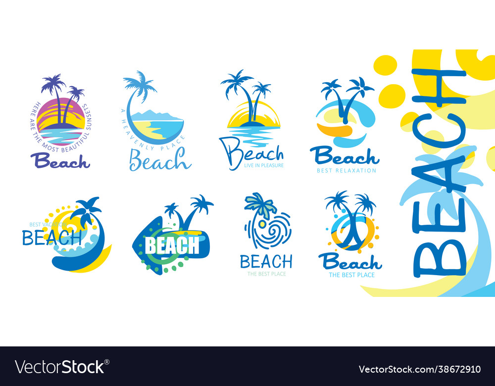 A set icons for beach with image
