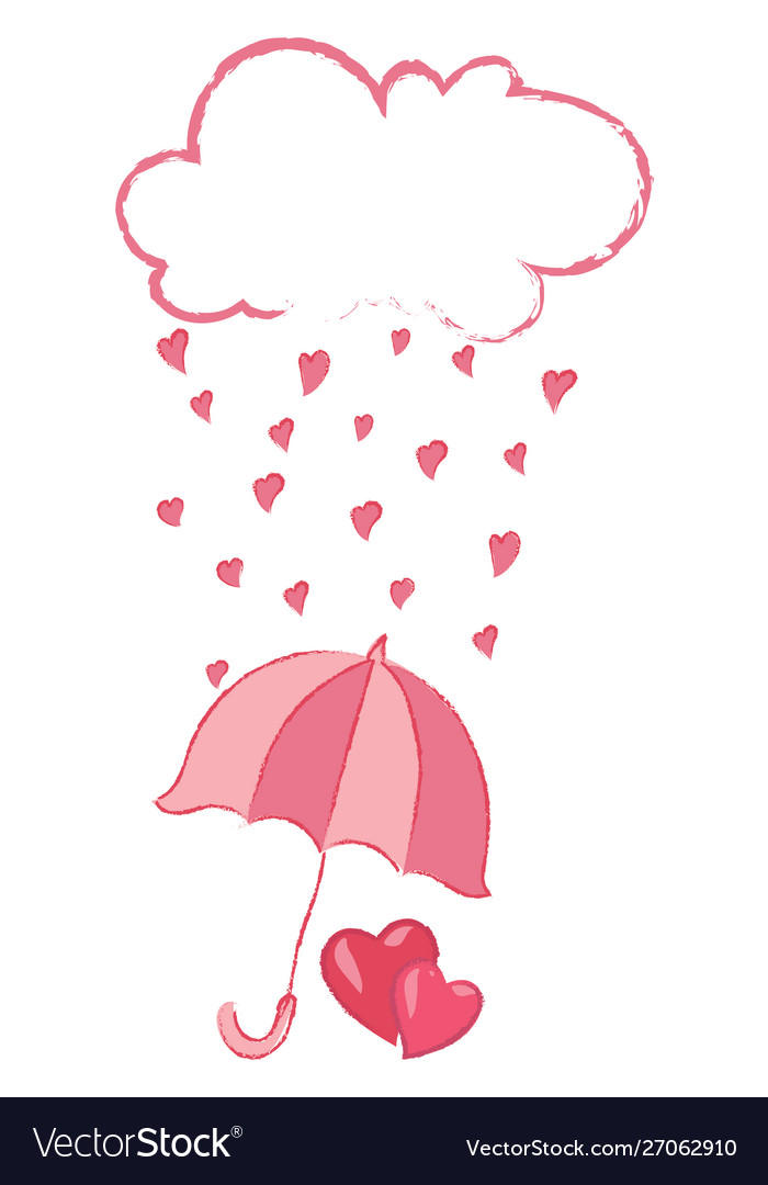Cloud with hearts rain from hearts