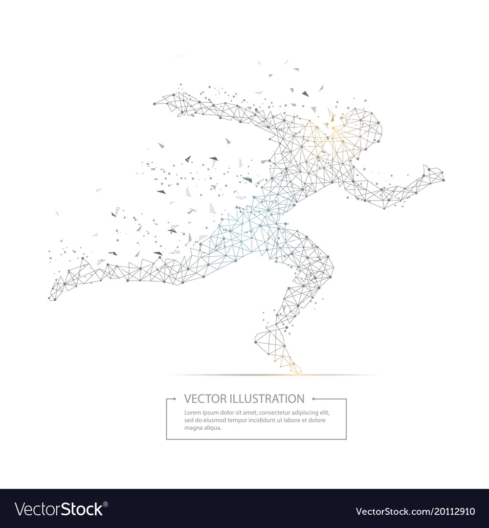 Digitally drawn running man low poly wire frame vector image