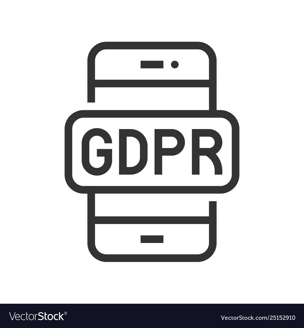 Gdpr general data protection regulation icon line