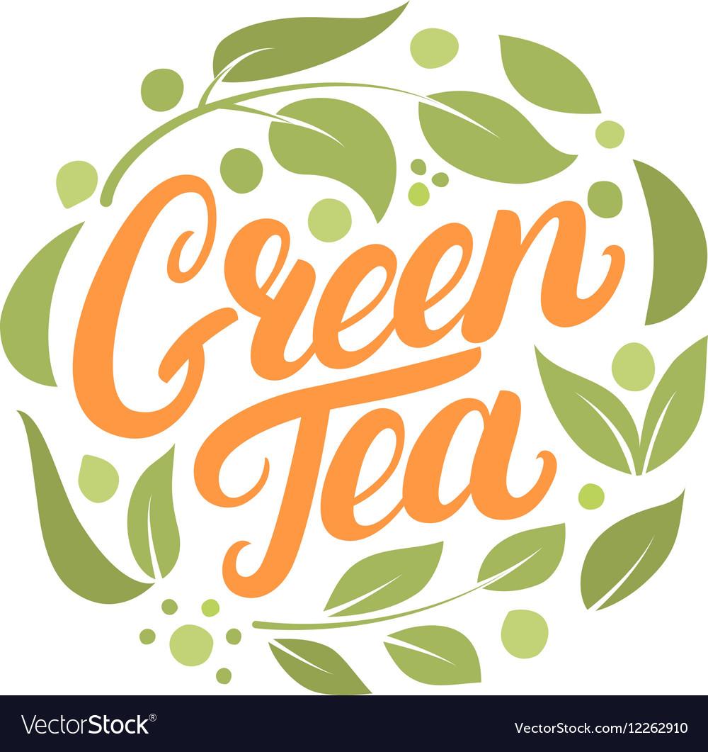 Green Tea hand written lettering logo label badge