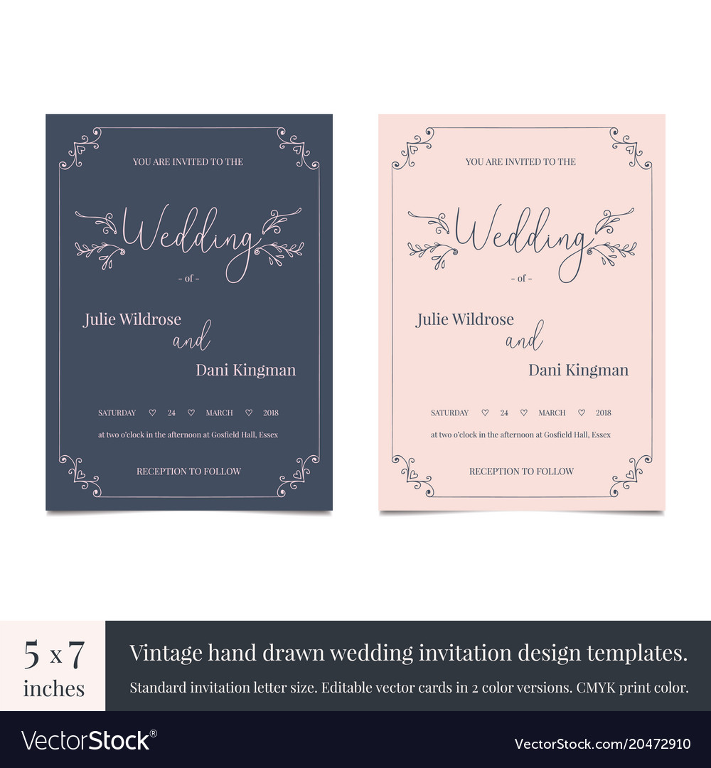 Hand drawn doodle wedding invitations design Vector Image