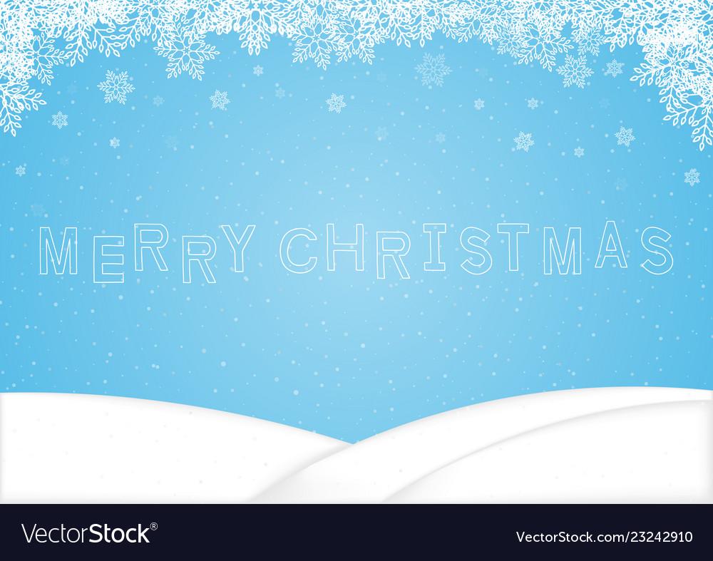 Merry christmas word snowflake background