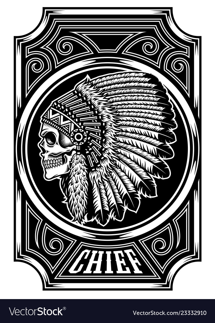 Native american indian chief skull on white