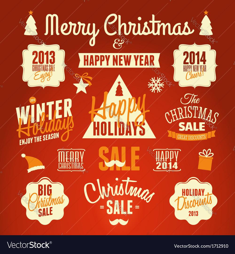 Retro style christmas design elements set