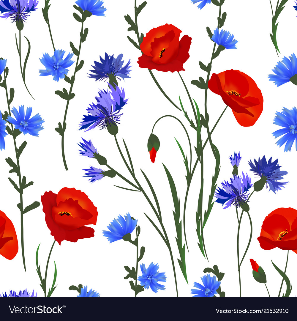 Seamless background with wildflowers