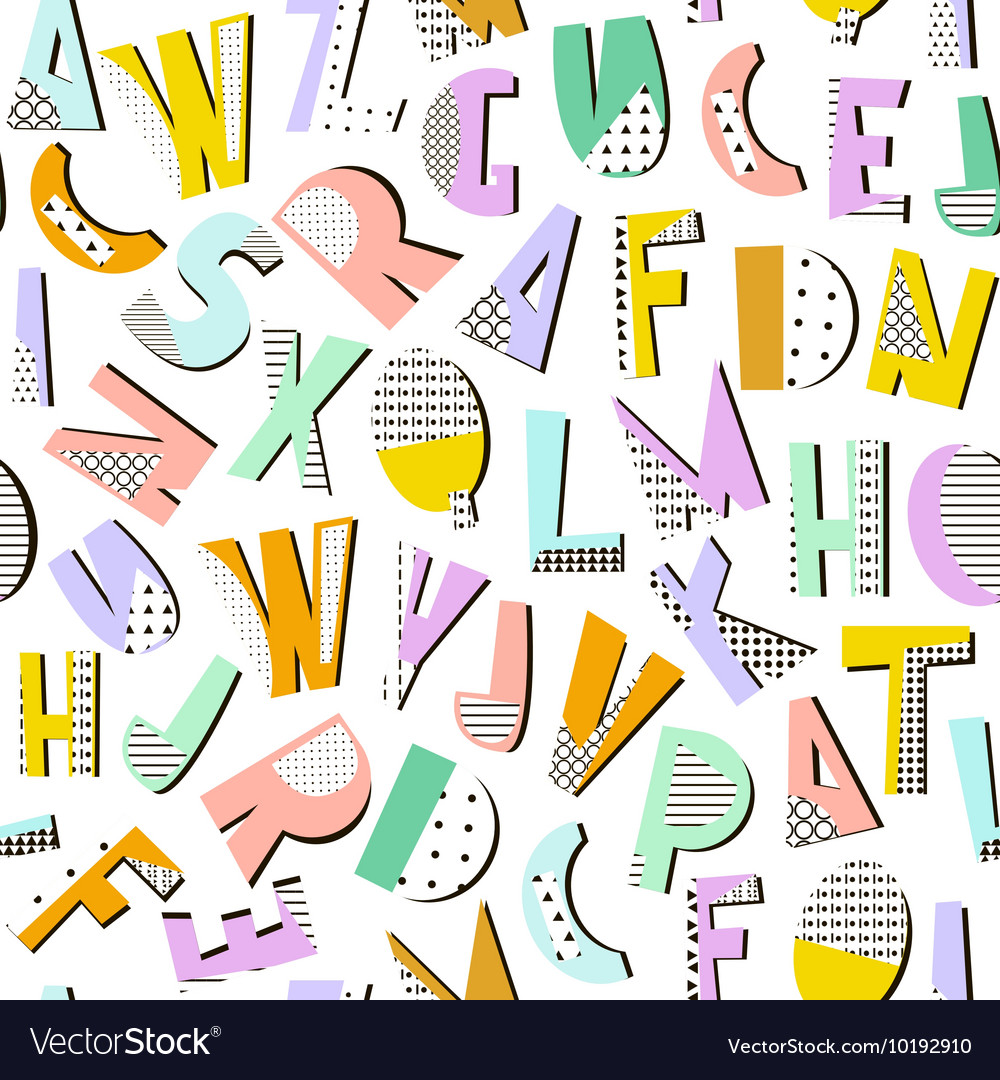 Seamless pattern with geometric modern letters