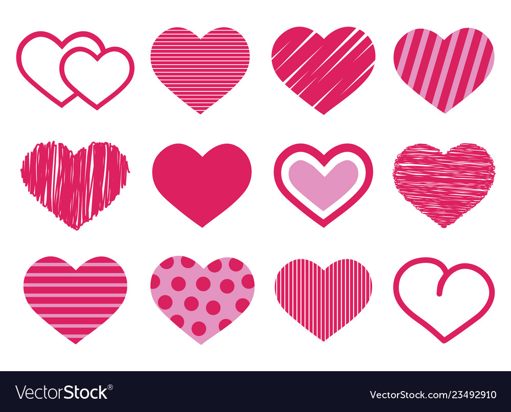 Set of 12 various cute red and pink heart