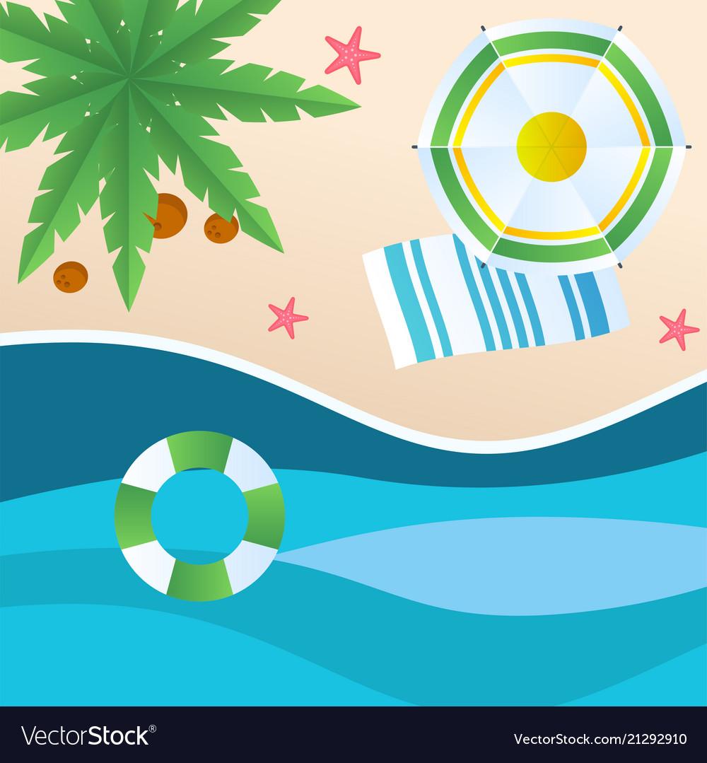 Summer beach green umbrella beach mat swimming tir
