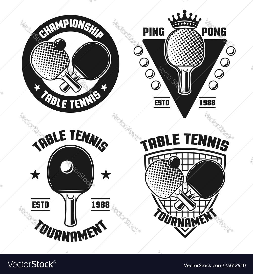 Table tennis set four vintage emblems