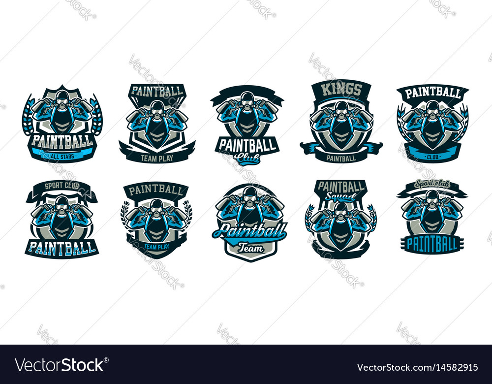 A collection of logos emblems a person playing vector image