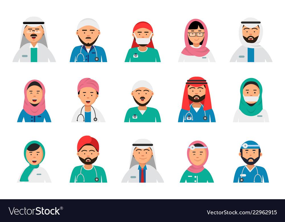 Arabic doctors avatars dentist nurses male and