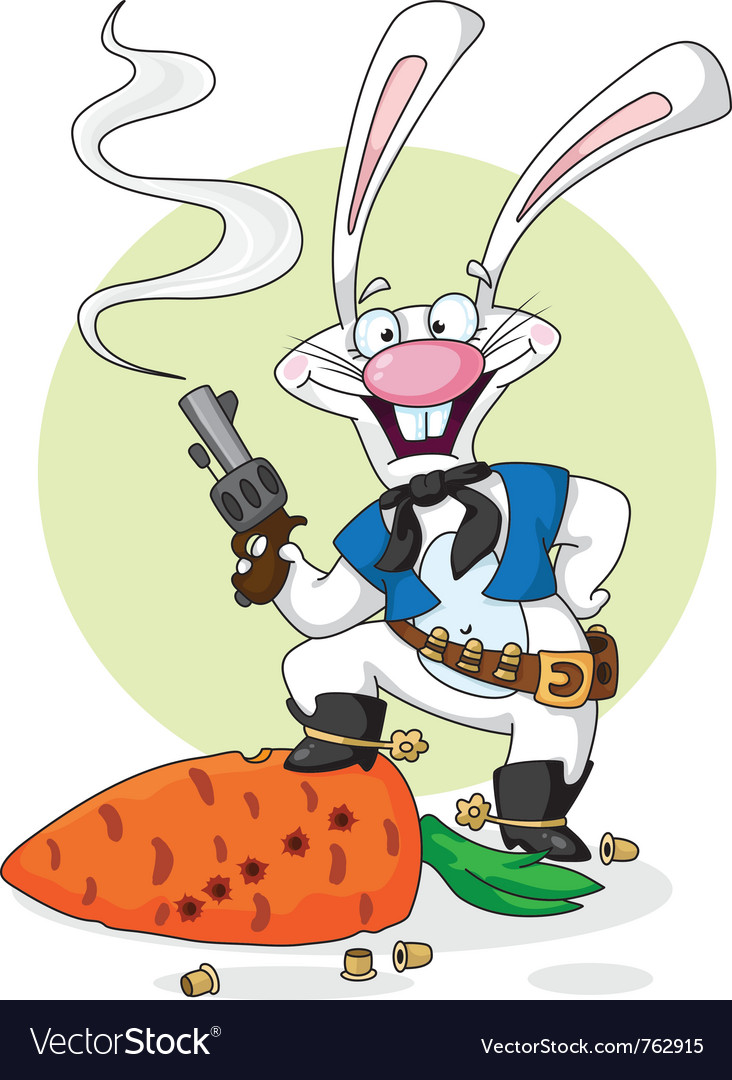 Cowboy white rabbit vector image