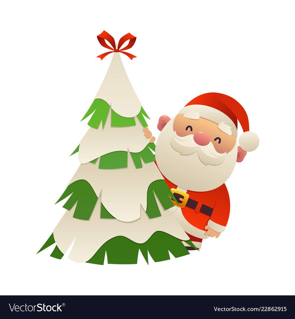 cute cartoon santa claus behind christmas tree vector image vectorstock