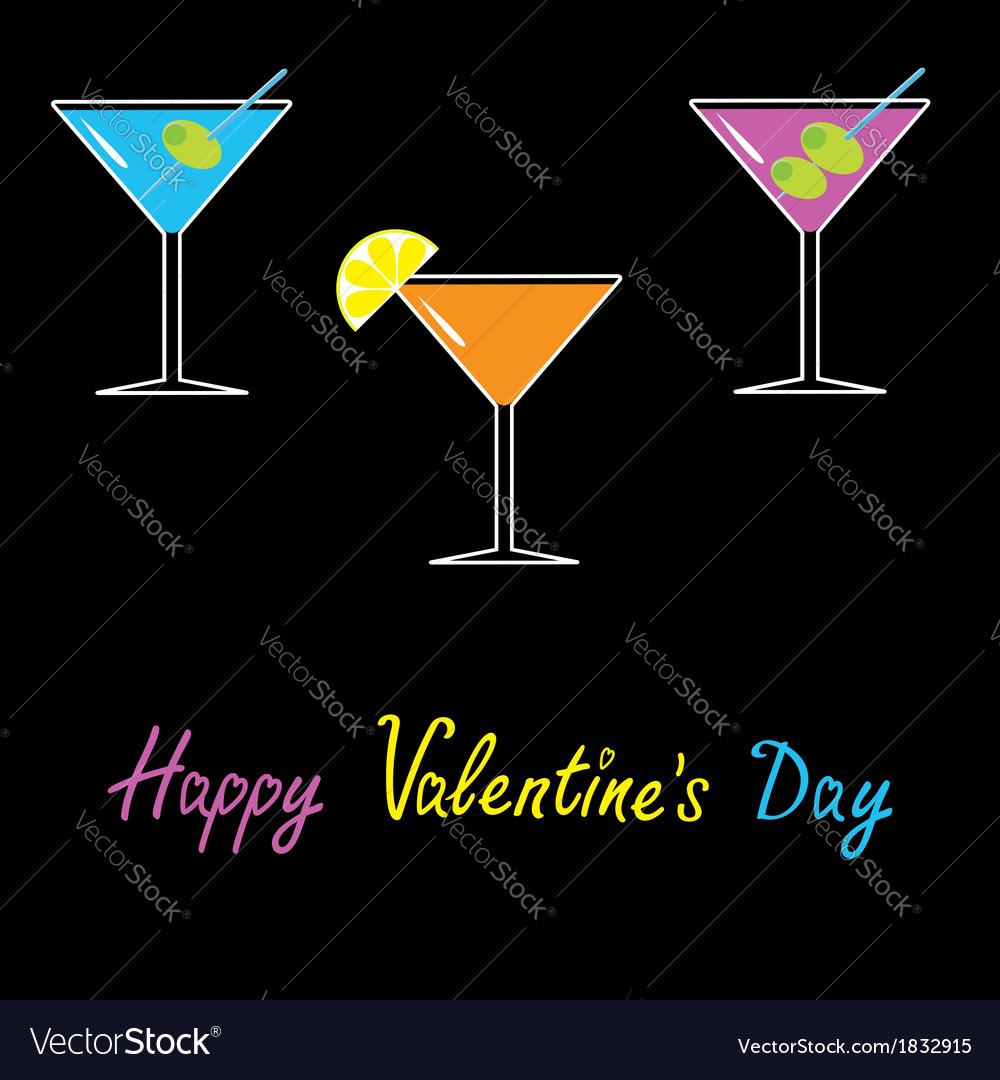 Martini set black background Happy Valentines Day vector image
