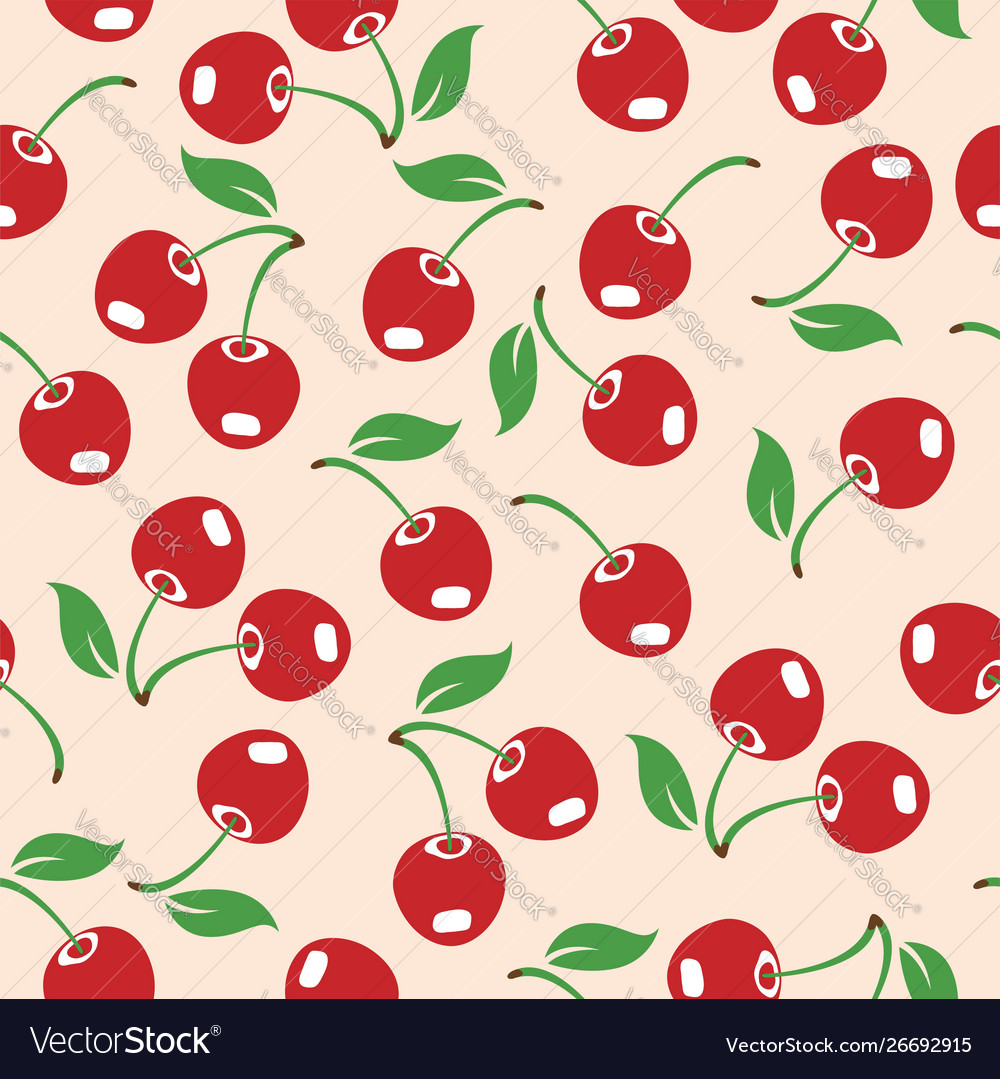 Red cherry seamless pattern