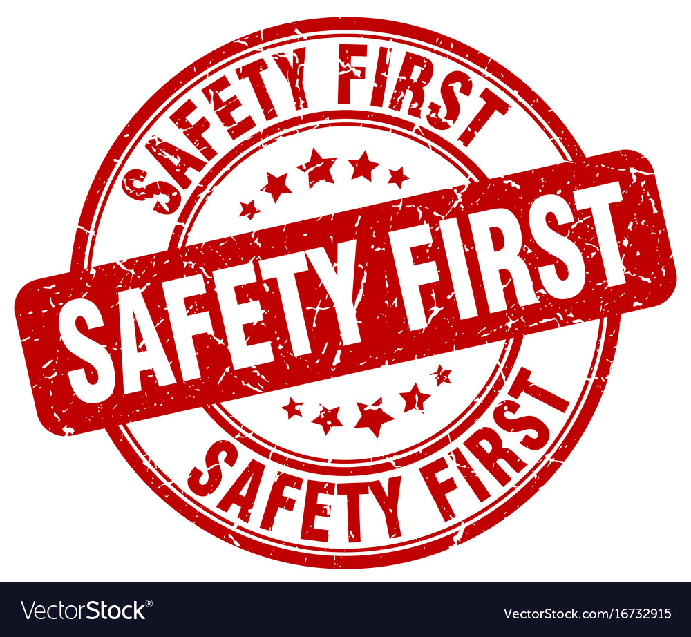 safety first stamp royalty free vector image vectorstock